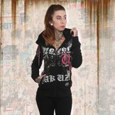 Diamond Skull High Neck Kapuzenjacke