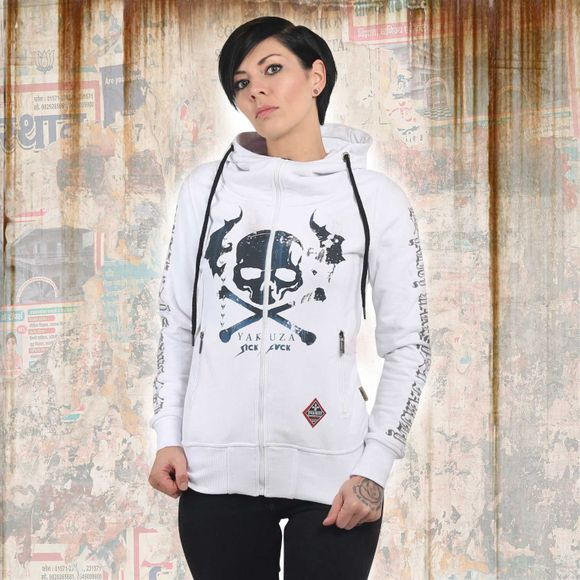Flying Skull High Neck Zip Hoodie