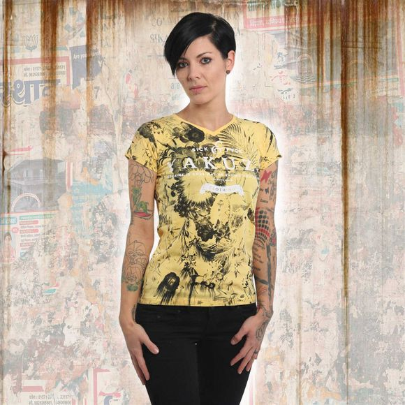 Flower Skull V-Neck T-Shirt