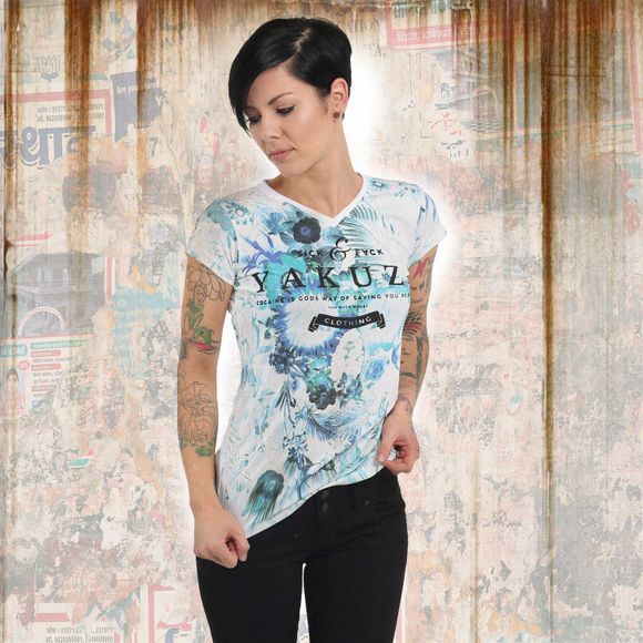 Flower Skull V Neck T-Shirt