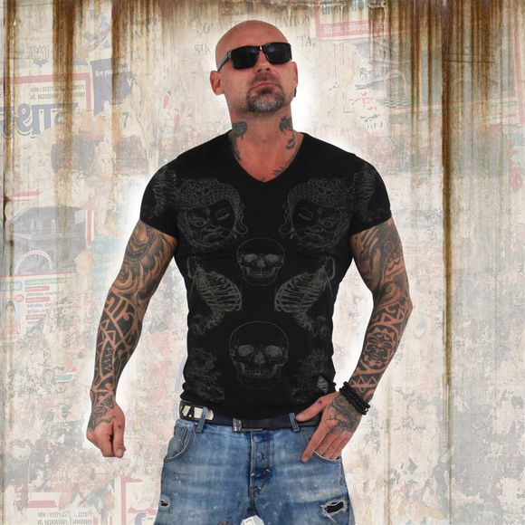 Burnout Temple V Neck T-Shirt