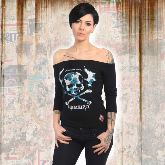Flying Skull Off Shoulder Longsleeve