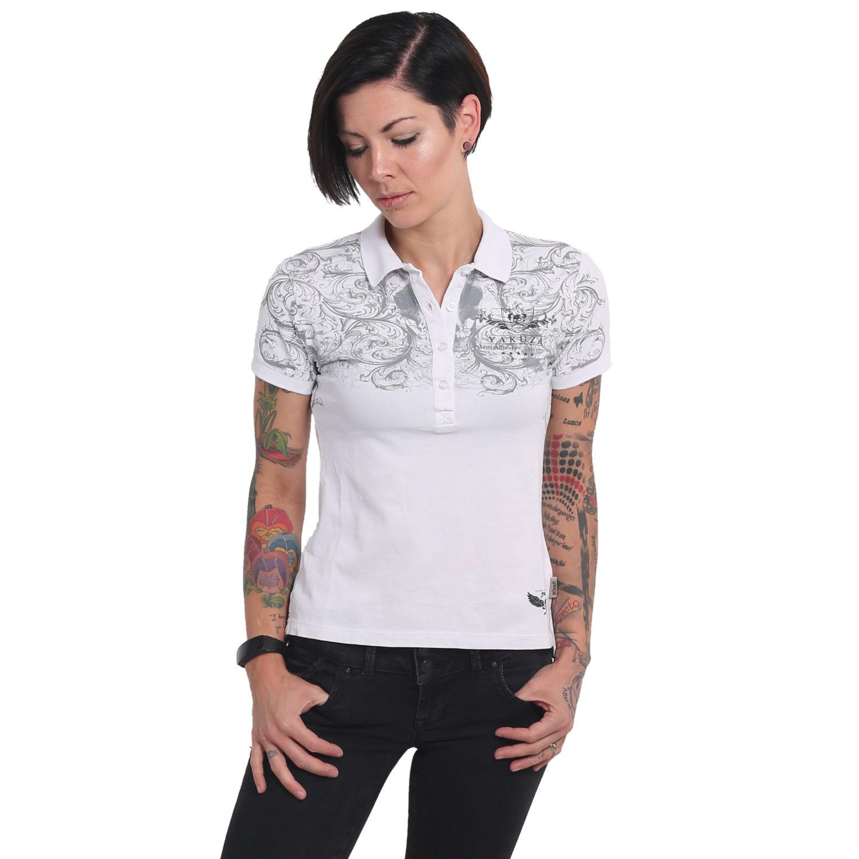 Weiß Neues Yakuza Damen Ornamental Skull Pikee Polo Shirt