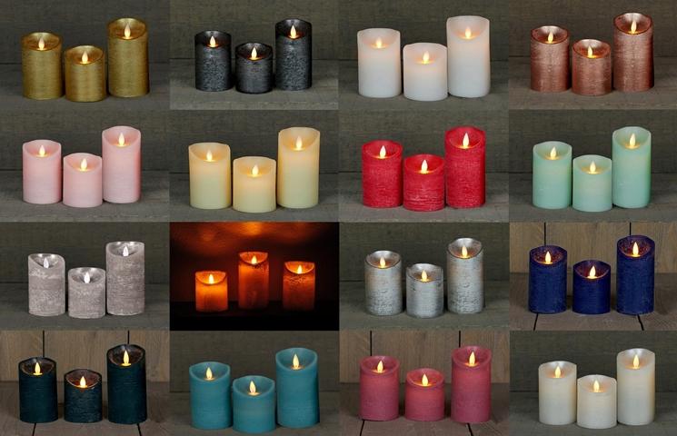 LED Echtwachskerze Kerze viele Farben mit Timer flackender Docht Wachskerze Kerzen Batterie