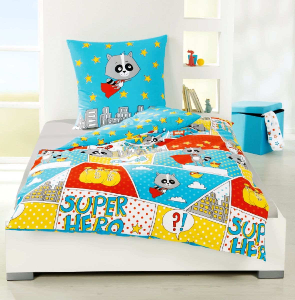 bierbaum fein biber kinder bettw sche 135x200cm 2 tlg super hero sale. Black Bedroom Furniture Sets. Home Design Ideas