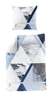 Bierbaum Mako Satin Bettwäsche 2 tlg 135x200cm Abstrakt Blau Silber Weiß [1]