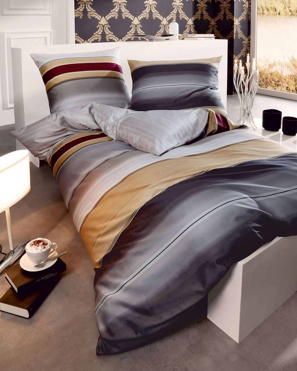 kaeppel mako satin bettw sche 2 tlg dip dye streifen. Black Bedroom Furniture Sets. Home Design Ideas