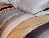 Kaeppel Mako Satin Bettwäsche 2 tlg. Dip Dye Streifen Silber Bordeaux Sand 5