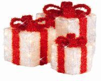 3er Geschenkwürfel Set Schleife Geschenk Paket LED Timer Batterie 15cm 20cm 25cm 2