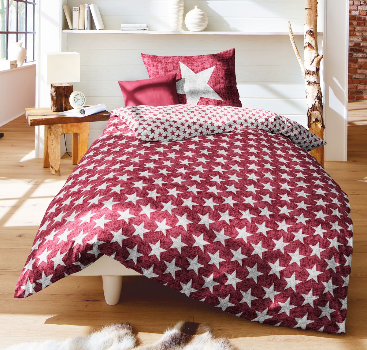 fleuresse biber stern wende bettw sche sterne stars rot. Black Bedroom Furniture Sets. Home Design Ideas