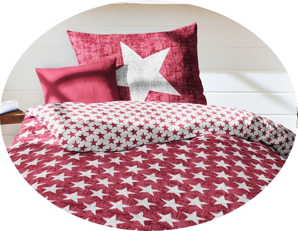fleuresse biber stern wende bettw sche sterne stars rot grau ko tex bettw sche bettw sche 135x200cm. Black Bedroom Furniture Sets. Home Design Ideas