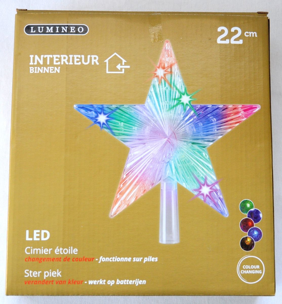christbaumspitze stern beleuchtet 22 cm bunt farbwechsel weihnachtsbaum spitze weihnachten. Black Bedroom Furniture Sets. Home Design Ideas