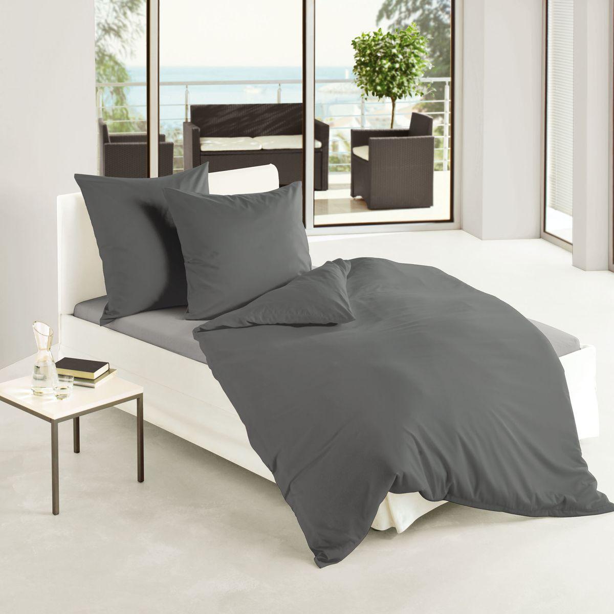 bierbaum uni fein biber bettw sche 3 tlg 200x200cm silber anthrazit leinen wei ebay. Black Bedroom Furniture Sets. Home Design Ideas