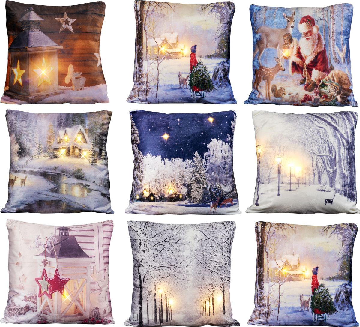kissen 45x45cm led beleuchtung weihnachten dekokissen wintermotive fotokissen weihnachten 3d. Black Bedroom Furniture Sets. Home Design Ideas