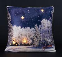 Kissen 45x45cm LED Beleuchtung Weihnachten Dekokissen Wintermotive Fotokissen 17