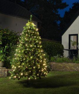 160 LED Trapez Kegel Warmweiß Netz für Weihnachtsbaum 130-170cm Lichternetz [2]