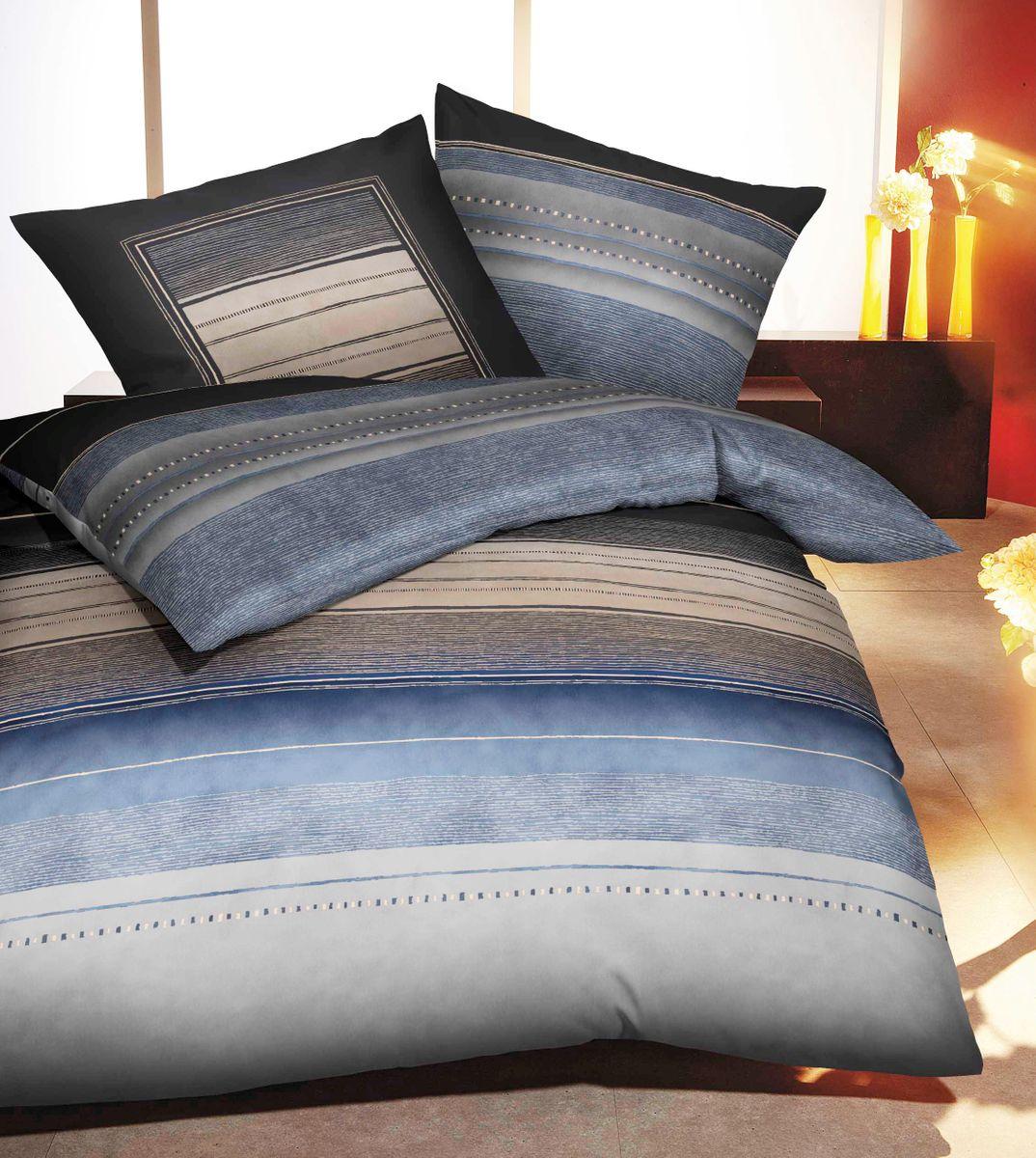 kaeppel biber bettw sche dawn streifen indigo blau grau. Black Bedroom Furniture Sets. Home Design Ideas