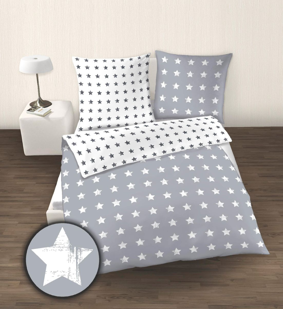 seersucker bettw sche 2 tlg 135x200cm stars sterne minze. Black Bedroom Furniture Sets. Home Design Ideas