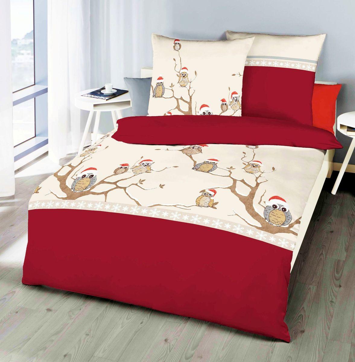 kaeppel fein biber bettw sche 2 tlg wintereule rot anthrazit braun creme bettw sche bettw sche. Black Bedroom Furniture Sets. Home Design Ideas