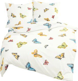 Bierbaum Renforcé Bettwäsche 3 tlg. 200x200cm Schmetterlinge bunt Pastellfarben [1]