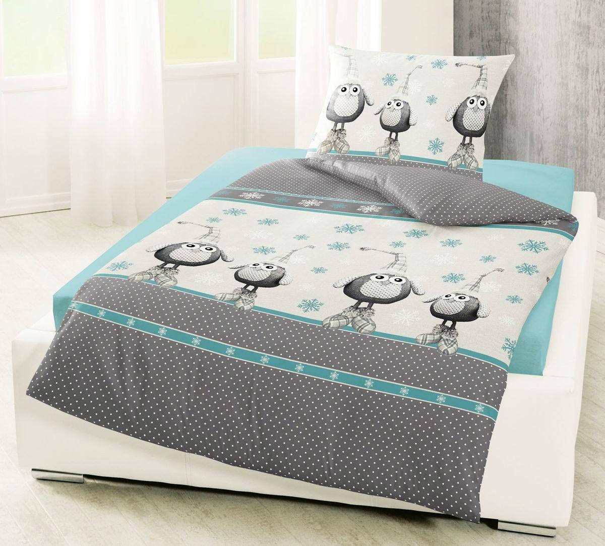 bierbaum biber bettw sche 135x200cm 2 tlg eule t rkis grau creme anthrazit bettw sche. Black Bedroom Furniture Sets. Home Design Ideas