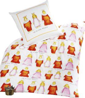 3 tlg. Kinder Bettwäsche 100x135cm/40x60cm + Spannbettlaken 70x140cm Prinzessin + Prinz [1]