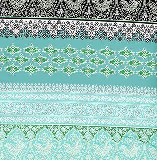 Fleuresse Mako Satin Bettwäsche 3 tlg. Ornamente Schwarz Weiß Grün Petrol 113496/5 [3]