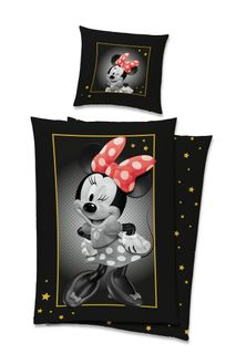 Satin Bettwäsche Baumwolle 135x200cm 2 tlg. Retro Minnie Mouse Golddruck [1]