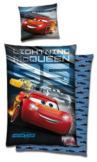 CARS 3 Biber Wende Bettwäsche 135x200cm Piston Cup Lighting McQueen 2 tlg. [1]