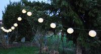 12m sehr lange LED Lampion Partylichterkette 50 Lampions Ø 7,5cm Warmweiße LEDs 3