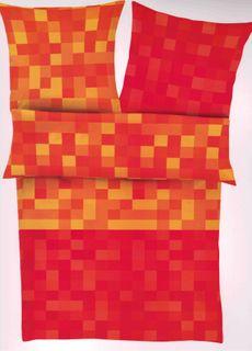 Ibena Mako Satin Bettwäsche 155x200cm 2 tlg. Brazilian Nights Karos Orange Rot [1]