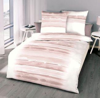 Kaeppel Renforcé Bettwäsche 135x200cm 2 tlg. Blend Rosé Rosa Weiß Baumwolle [1]