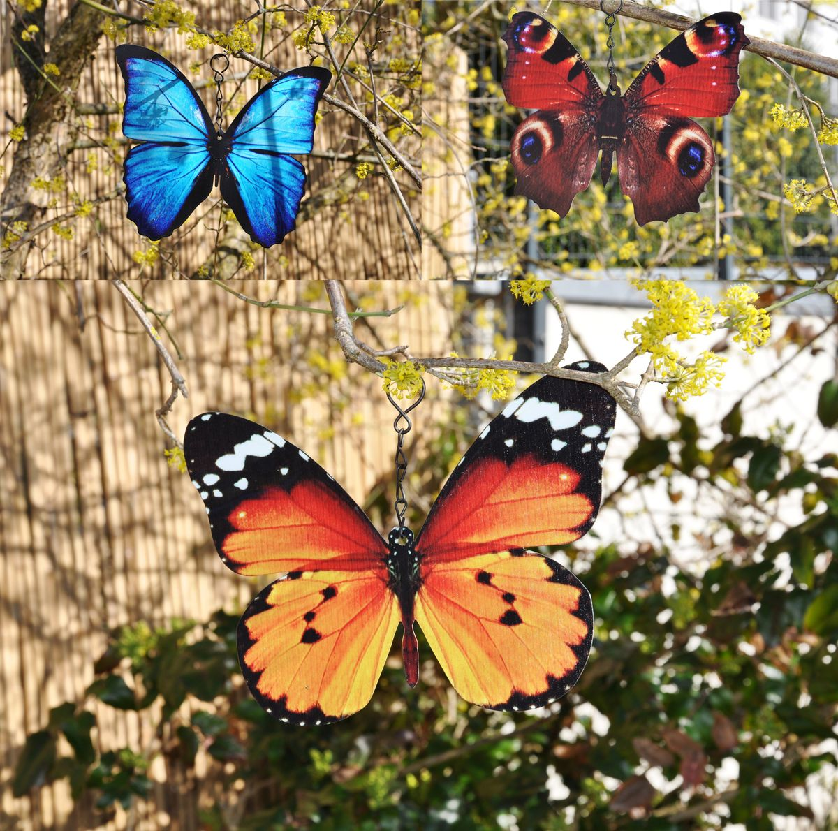Deko Schmetterlinge Metall.3 Schmetterlinge Metall Aufhänger Bunt Schmetterling Windspiel Gartendeko 20cm