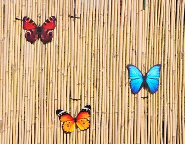 3 Schmetterlinge Metall + Aufhänger Bunt Schmetterling Windspiel Gartendeko 20cm [2]