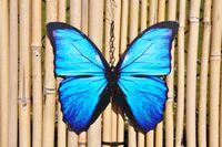 3 Schmetterlinge Metall + Aufhänger Bunt Schmetterling Windspiel Gartendeko 20cm 3