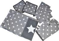8 tlg. Küchenset Sterne Schürze Topflappen Handschuhe Geschirrtücher 100% Baumw. 2