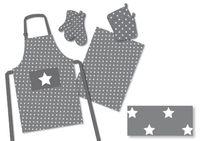 8 tlg. Küchenset Sterne Schürze Topflappen Handschuhe Geschirrtücher 100% Baumw. 5