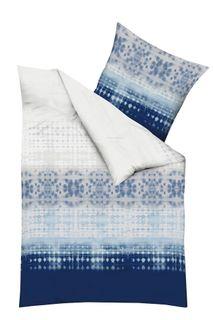 Kaeppel Fein Biber Bettwäsche 240x220cm Embrace Indigo Blau Silber Weiß [3]