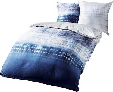 Kaeppel Fein Biber Bettwäsche 240x220cm Embrace Indigo Blau Silber Weiß [1]