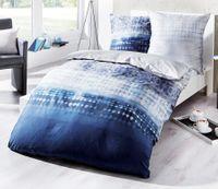 Kaeppel Fein Biber Bettwäsche 240x220cm Embrace Indigo Blau Silber Weiß 2