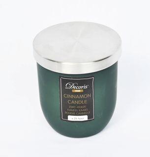 Zimt Duftkerze im Glas Kerze Premium Deckel in gebürstetem Silber Dauer ca. 25 Std. [2]