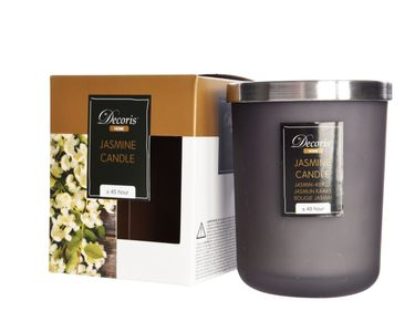 Jasmin Duftkerze im Glas Kerze Premium Deckel in gebürstetem Silber Dauer ca. 45 Std. [1]