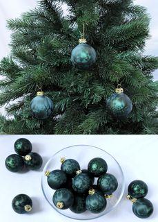 Thüringer Glas Eislack Christbaumkugeln Dunkelgrün Weihnachtskugeln 4 5 6 7 8 cm [1]