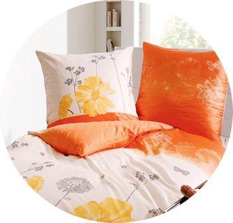 Kaeppel Renforcé Bettwäsche 135x200cm 2 tlg. L´Amour Orange Gelb Baumwolle [2]