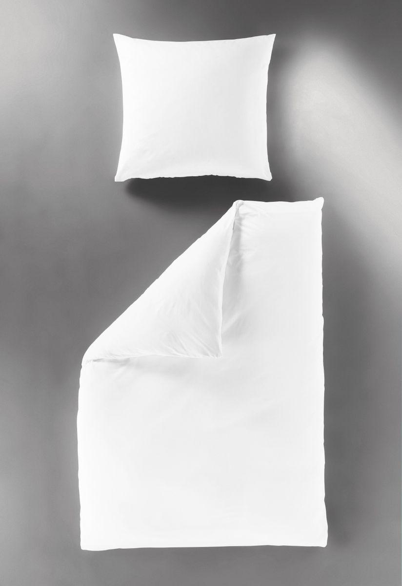 Bierbaum Hochwertige Uni Fein Biber Bettwäsche Einfarbig Weiß 100 Baumwolle