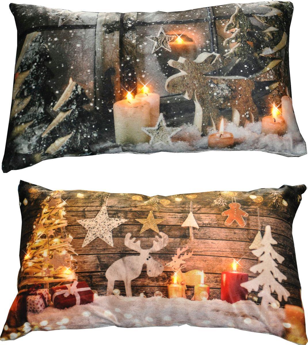 kissen 30x50cm led beleuchtung weihnachten dekokissen wintermotive fotokissen weihnachten 3d. Black Bedroom Furniture Sets. Home Design Ideas