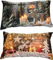 Kissen 30x50cm LED Beleuchtung Weihnachten Dekokissen Wintermotive Fotokissen 1