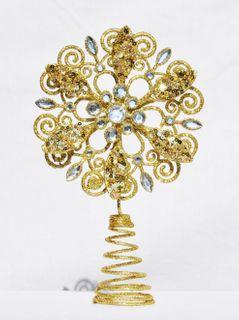 Christbaumspitze Blume Metall Glitter 21 x 12 cm Glitzer Weihnachtsbaum Spitze [3]