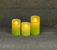 3er Set Kerze LED Echtwachskerze 10cm + 12,5 cm + 15 cm Kerze Ø 7,5 cm viele Farben mit Timer + flackender Docht 20