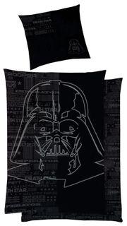 Star Wars Baumwoll -  Satin Wende Bettwäsche 135x200cm 2 tlg. Darth Vader Silberdruck  [1]